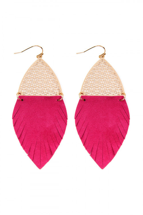 HOT PINK HALF FILIGREE AND HALF FRINGE LEATHER MARQUISE DROP EARRINGS