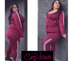 Black and White Three piece athletic wear/with fleece