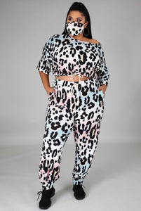Light Leopard Three Piece Jogger Set