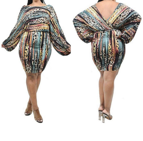 Multiprint Deep back Vee Dress