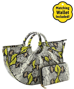 Fashion Faux Snakeskin/mustard Handbag with Wallet