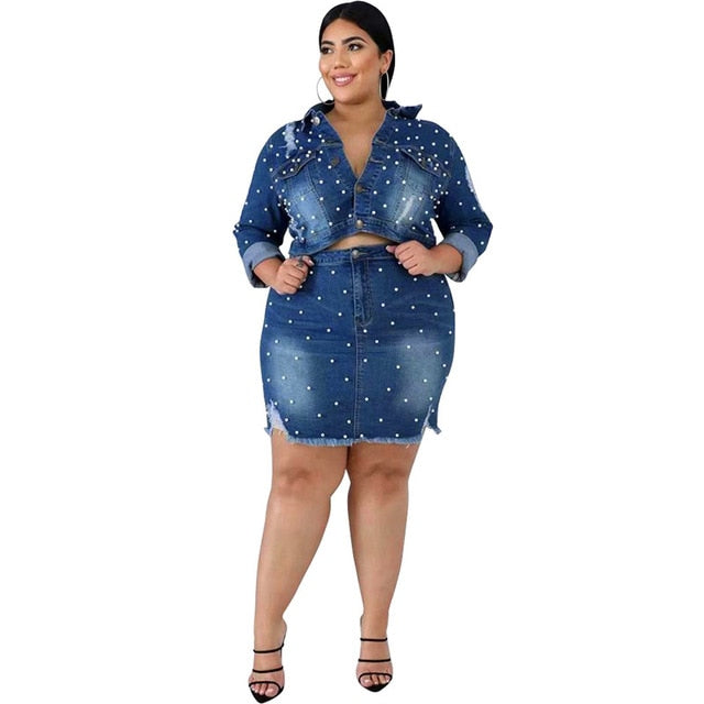 Denim Skirt Set Bead Womens Plus Size Two Piece Sets
