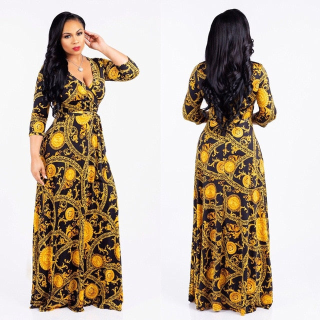 Sexy V-Neck Seven-Sleeve Polyester Exquisite Casual  Dress Printed Plus Size