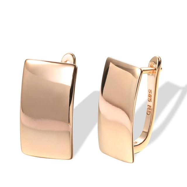 Rose Gold Simple Square Earrings
