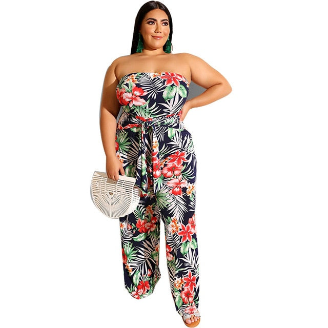 Sexy Strapless Sleeveless Waistband Print Jumpsuits