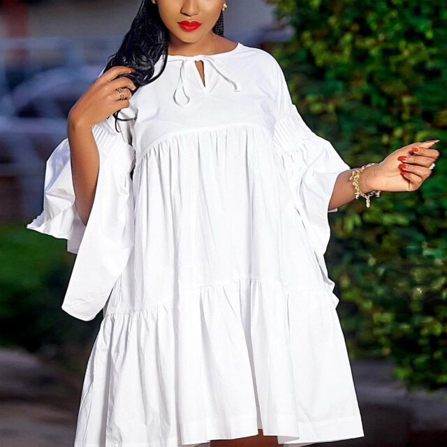 White Dress For Women Summer Clothing A Line Loose Flare Sleeve Fashion Causal Daily Wear Mini Length Ladies Dresses Vestidos