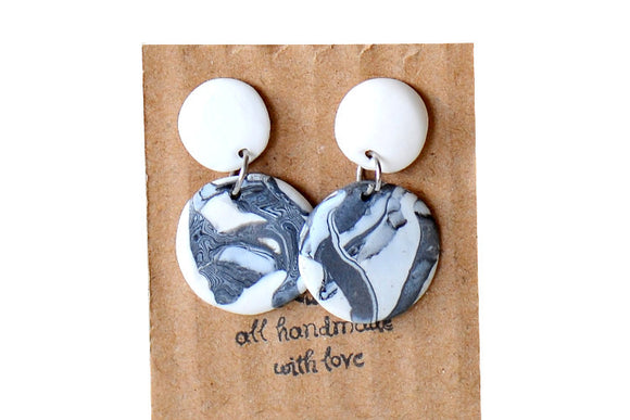 Grey marble dangle drops