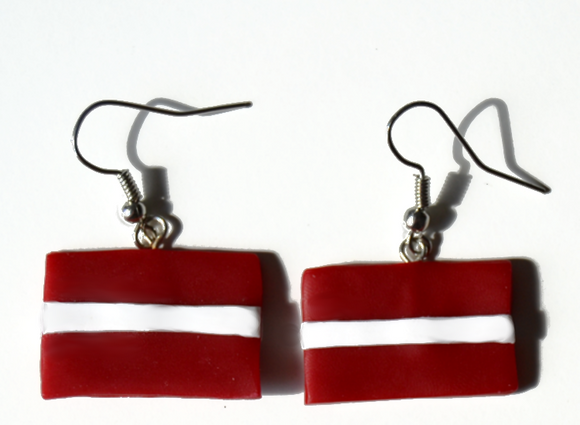 Latvian flag earrings
