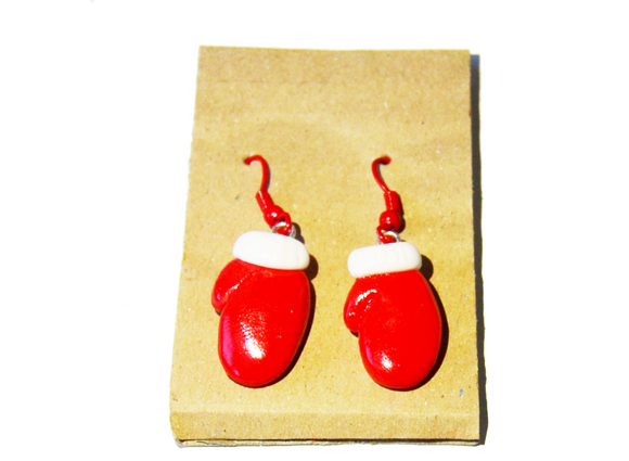 Christmas gloves earrings