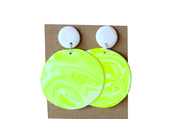 Yellow and white blended earrings
