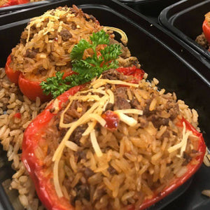 Dirty Brown Rice Stuffed Bell Pepper