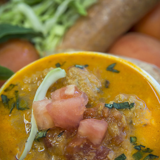 Cabbage Tomato Vegan Sausage Soup