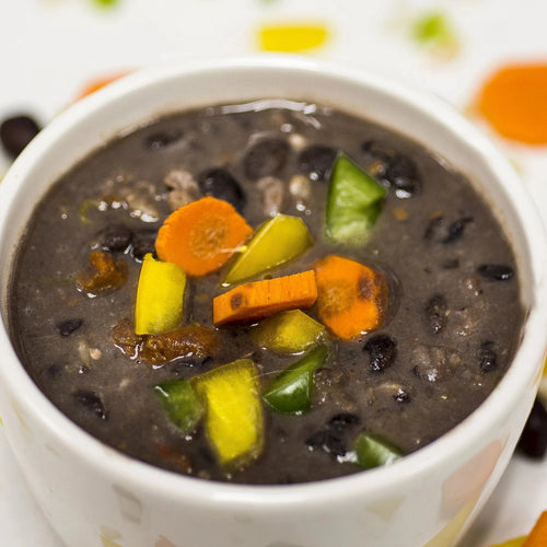 Black Beans and Brown Rice Soup in a small bowl