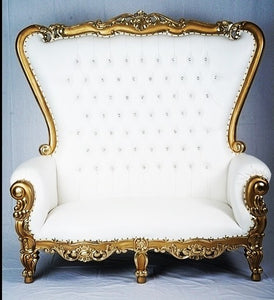 Throne Love Seat White with Gold Trim