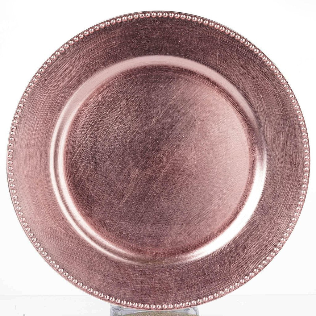 Charger Plates Acrylic Brush Pink/Rose Beaded