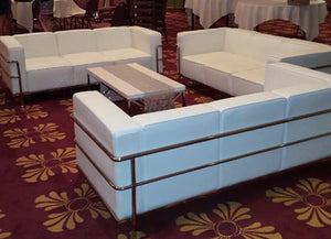 Sofa White with Chrome