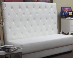 Loveseat Booth High Back Armless White Tufted