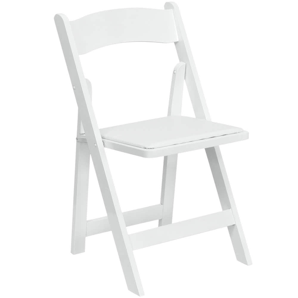 White Folding Garden Chairs With White Pads