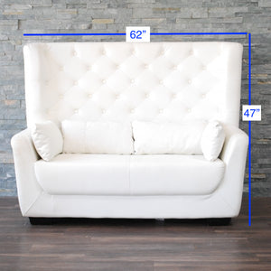 Loveseat High Back White Tufted