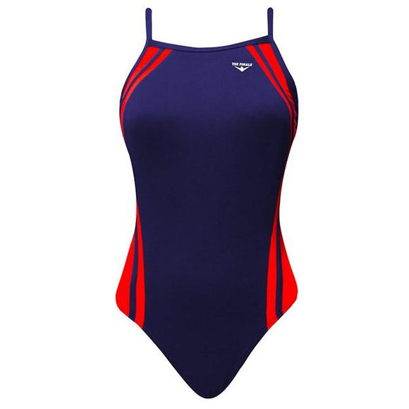 TYR/FINALS Reactor Splice Butterflyback (Thin Strap) (Red/Navy w/screened team logo)_HH
