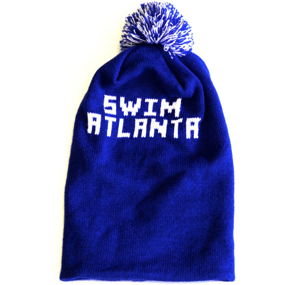 Swim Atlanta Puff Ball Beanie (Blue)
