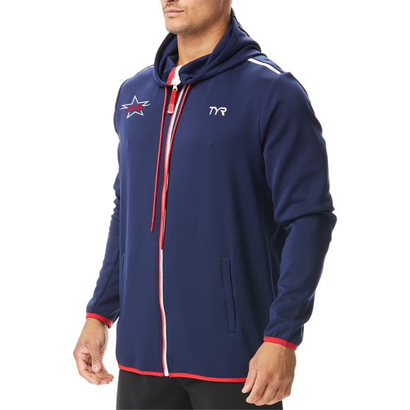 TYR Men's Alliance Full Zip Podium Hoodie (EMBROIDERED WITH SWIM ATLANTA LOGO) - Red/White/Blue
