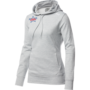 TYR Women's Performance Pullover Hoodie (EMBROIDERED WITH SWIM ATLANTA LOGO) - Light Heather [LIMITED SIZE AVAILABILITY]