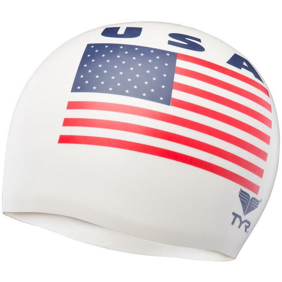 TYR USA Swim Cap (White)