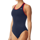 TYR Hexa Maxfit (Thick Strap) (Red/Navy w/screened team logo)_HH