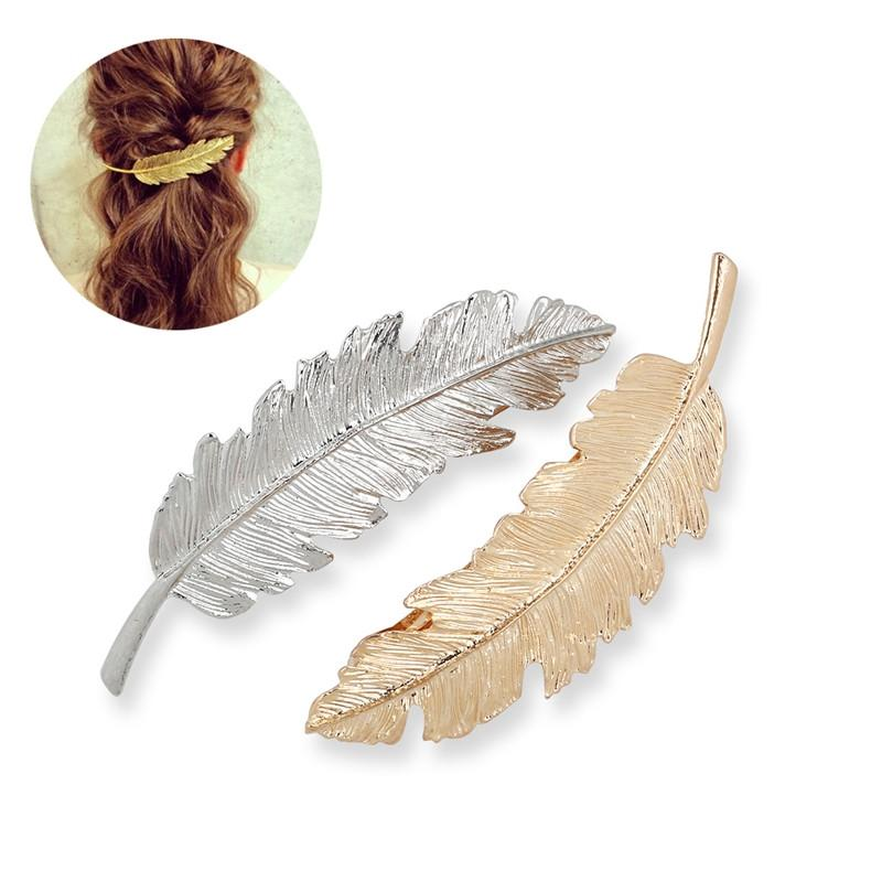 TINKSKY 2pcs Leaf / Feather Shaped Hair Clip Pin Claw Hair Accessories