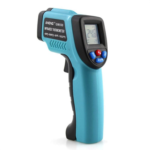 GM550 Digital Infrared Thermometer Pyrometer Aquarium Laser Thermometer Outdoor Thermometer (Sky Blue)