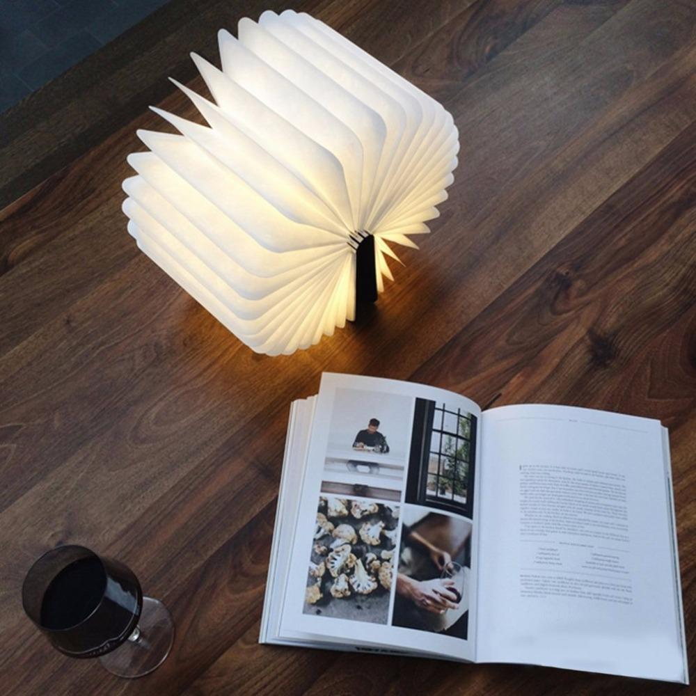 LED Foldable Wooden Book Night Lamp