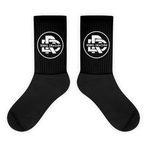 Rising Dragon Black Socks Logo