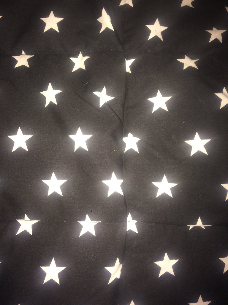 "4-8Ib black and white stars weighted blanket 42"" by 38"" autism, sleep disorders, anxiety, ADHD"