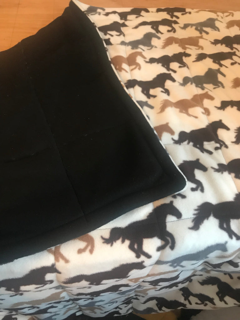 4-10Ib single bed size ivory fleece horses weighted blanket