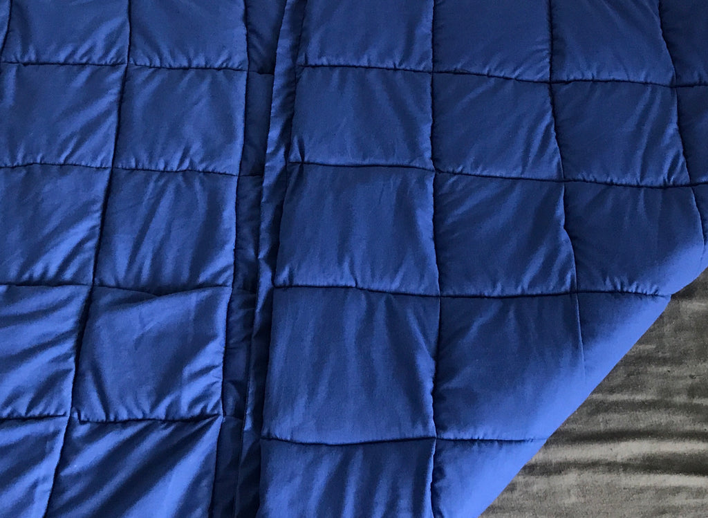 "4-8Ib Royal blue cotton 38 by 42"" weighted blanket"