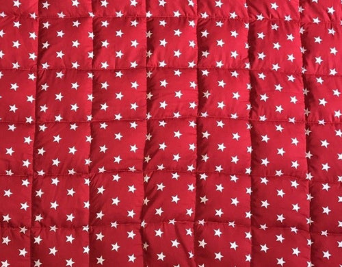 11 -20Ib single bed size weighted blanket red stars - autism, sleep disorders, anxiety, ADHD