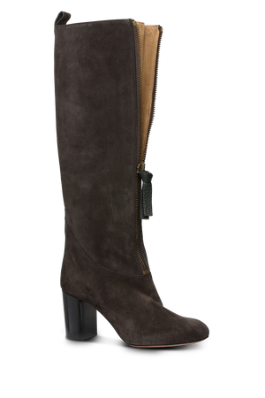 CHLOE Zip Front Knee High Boots