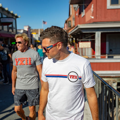 Image of vxii v12 lifestyle mens tshirts the burke chilling on the boardwalk