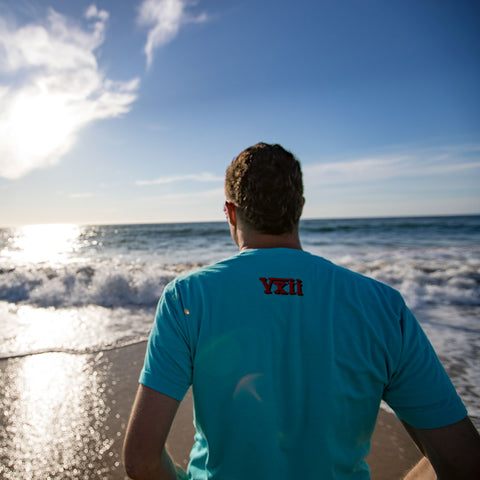 Image of vxii v12 lifestyle mens tshirts the fred man back at the beach