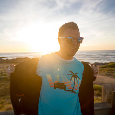 Image of vxii v12 lifestyle mens tshirts the fred man open jacket at the beach