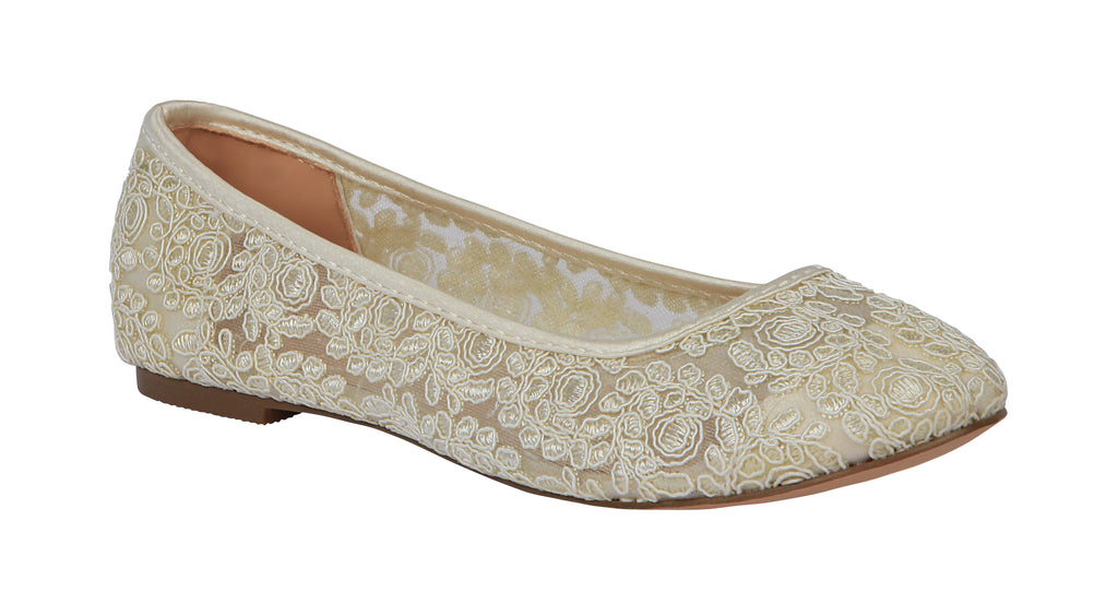 De Blossom Bridal Women's Lace Round Toe Ballet Wedding Flat- Ivory