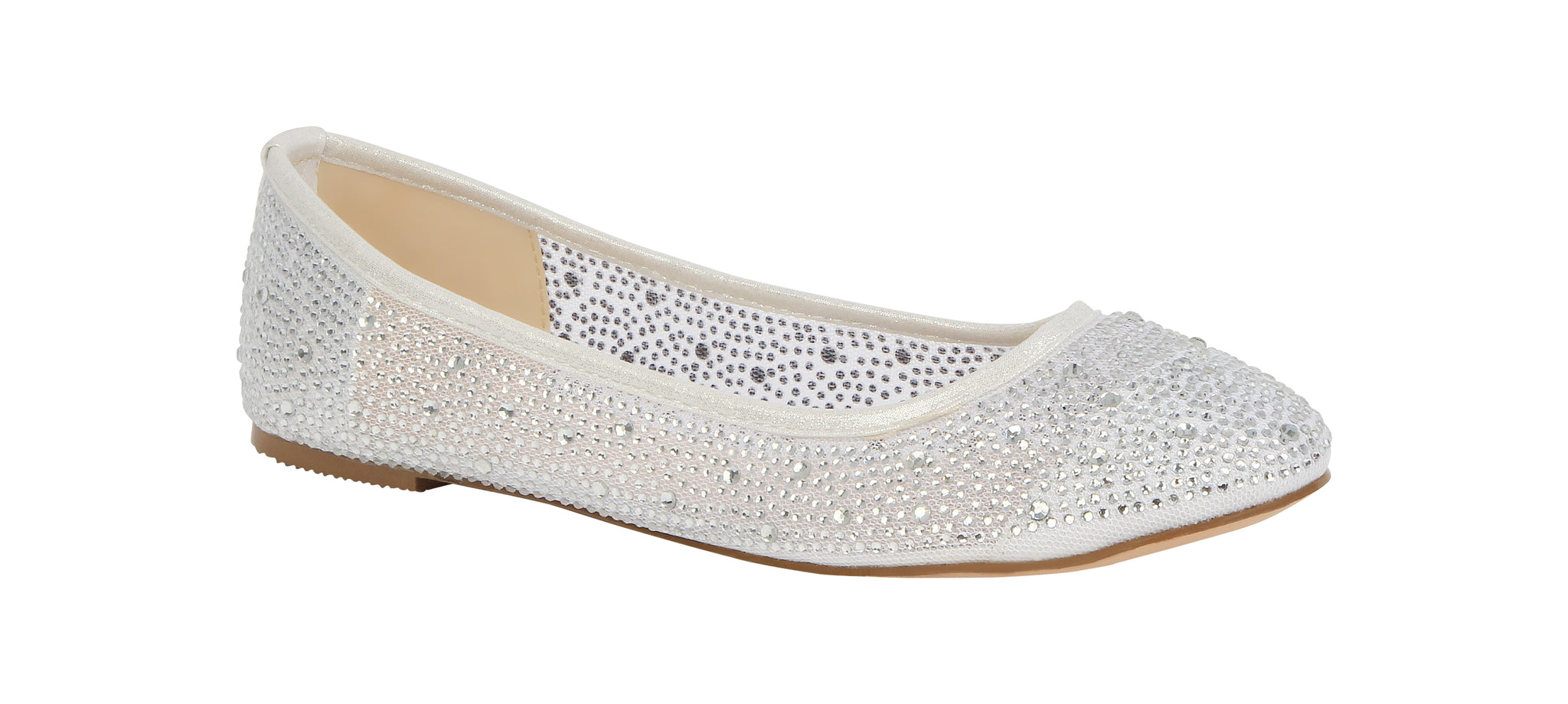 De Blossom Bridal Women's Sheer Rhinestone Round Toe Ballet Wedding Flat- White Metallic