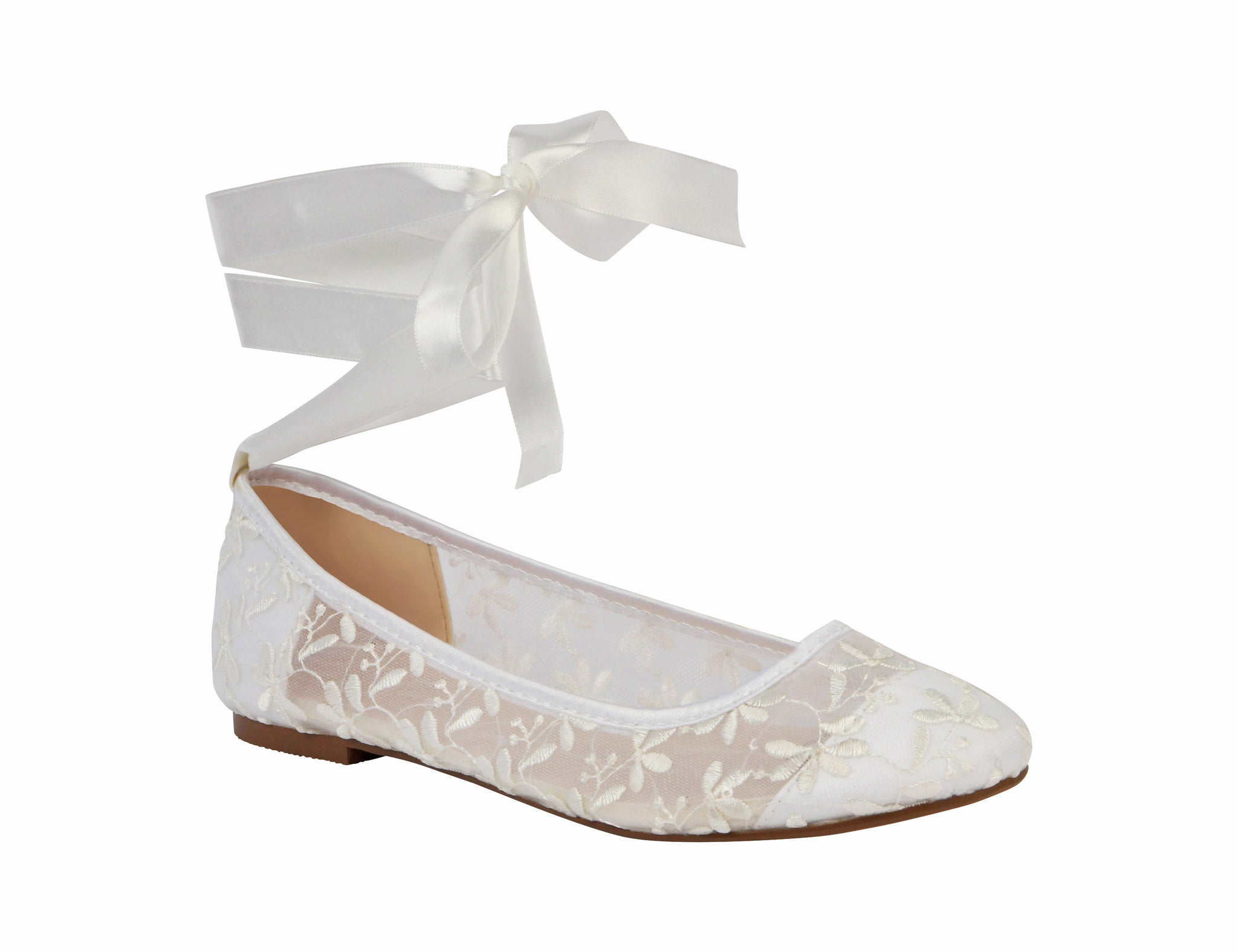De Blossom Bridal Women's Sheer Lace Wedding Ballet Flat with Optional Satin Ribbon Ankle Ties- White