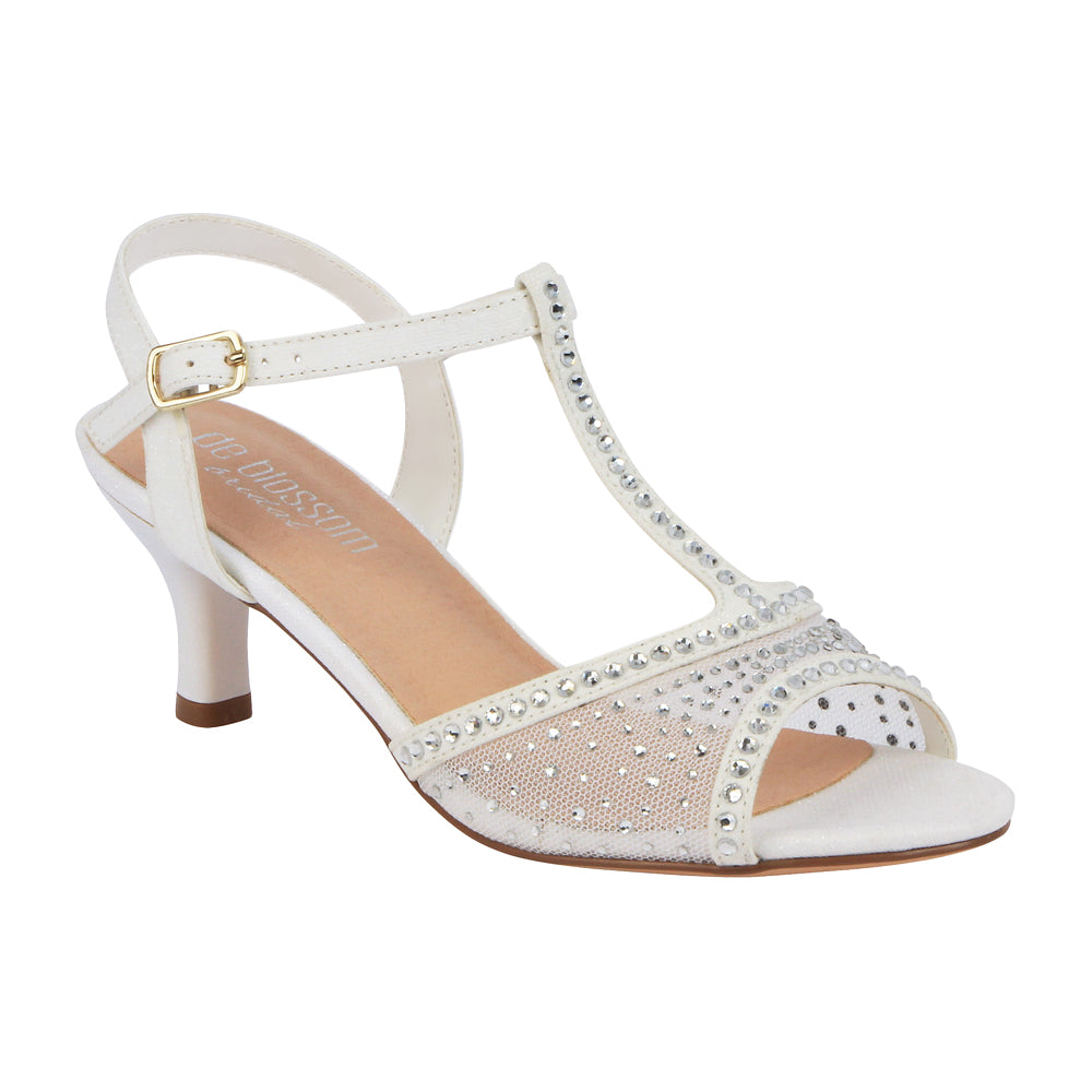 De Blossom Bridal Women's Sheer T-Strap Rhinestone Low Wedding Heel- White