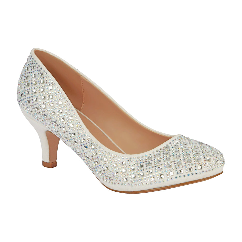 De Blossom Bridal Women's Shimmer and A/B Rhinestone Round Toe Wedding Kitten Heel- White