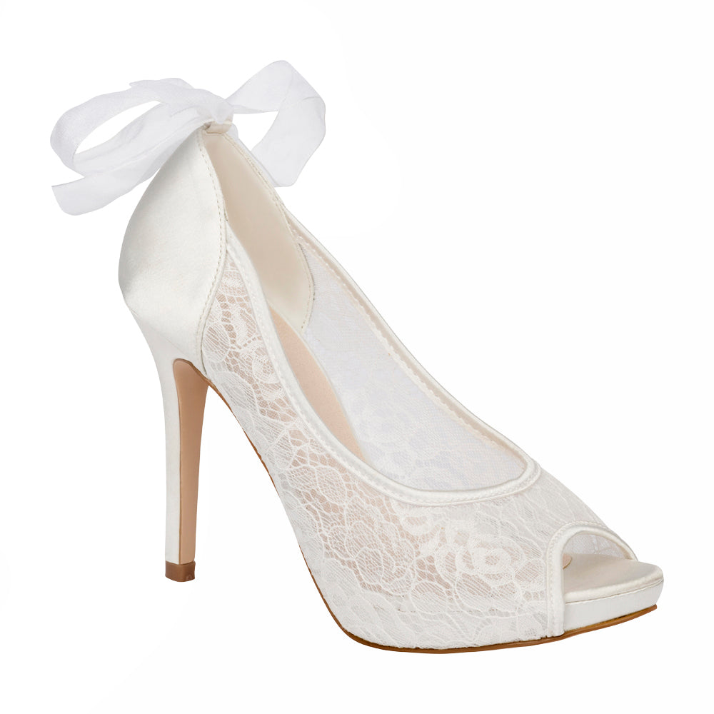 De Blossom Bridal Women's Sheer Lace and Satin Peep Toe Wedding High Heel with Ribbon Detail- White