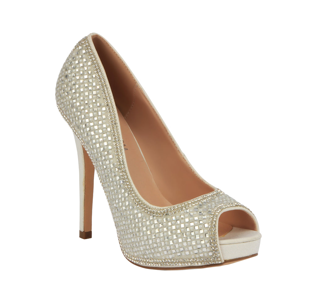 """Darling"" Wedding Peep Toe Pump- White"