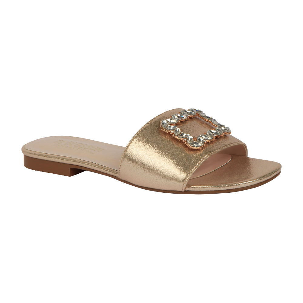 De Blossom Bridal Women's Shimmer and Rhinestone Buckle Ornament Slide Sandal- Gold