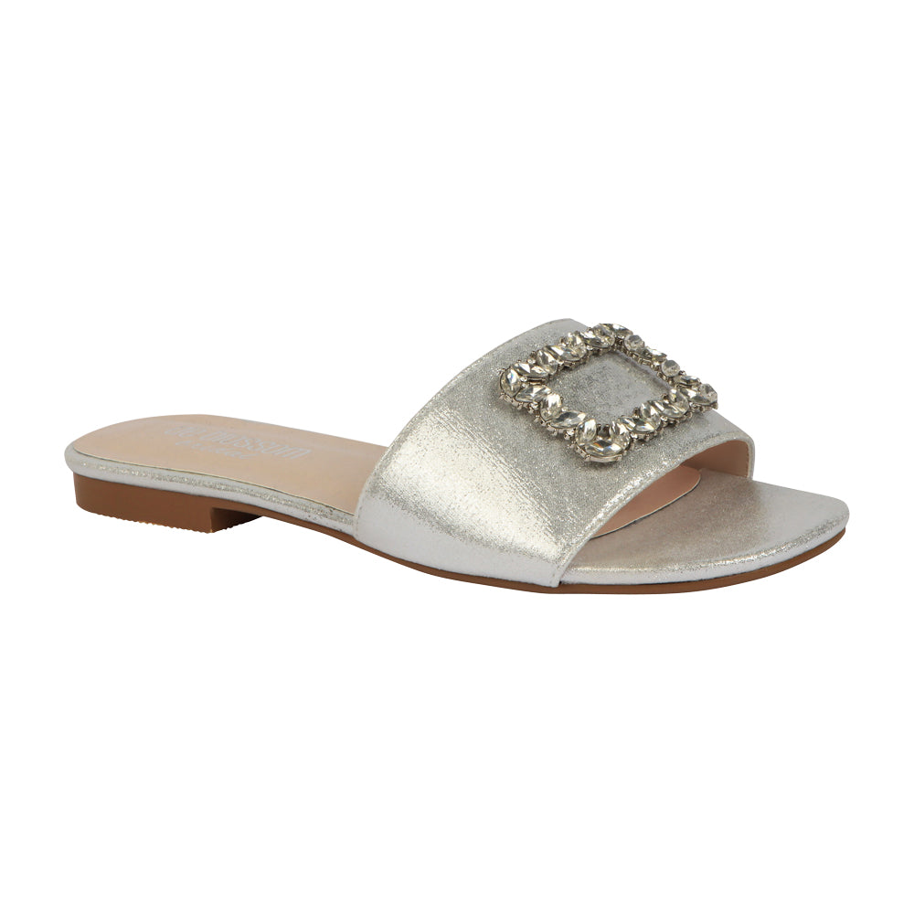 De Blossom Bridal Women's Shimmer and Rhinestone Buckle Ornament Slide Sandal- Silver